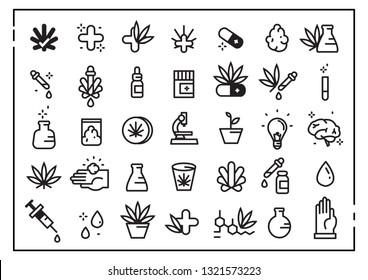 Cannabidiol icon set. CBD, Cannabis, treatment, weed, tobacco and more, Fun, syringe, vector