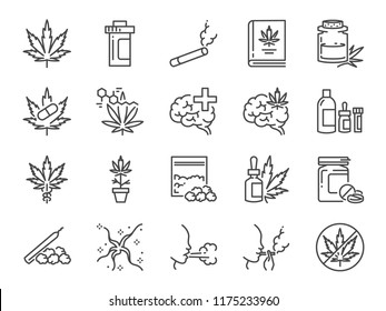 Cannabidiol icon set. Included icons as CBD, Cannabis, treatment, weed, tobacco and more.
