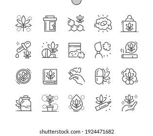 Cannabidiol. Marihuana. Smoking cannabis. Cannabis treatment. Health care, medical and medicine. Pixel Perfect Vector Thin Line Icons. Simple Minimal Pictogram