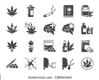 Cannabidiol solid icon set. Included icons as CBD, Cannabis, treatment, weed, tobacco and more.