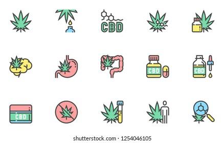 Cannabidiol Vector Line Icons Set. CBD, Cannabis, Hemp Oil. Editable Stroke. 48x48 Pixel Perfect.