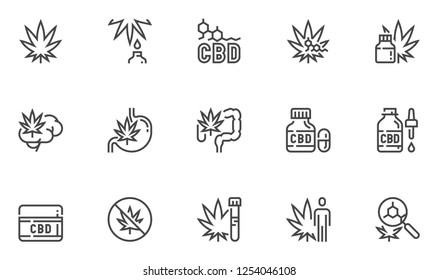 Cannabidiol Vector Line Icons Set. CBD, Cannabis, Hemp Oil. Editable Stroke. 48x48 Pixel Perfect.