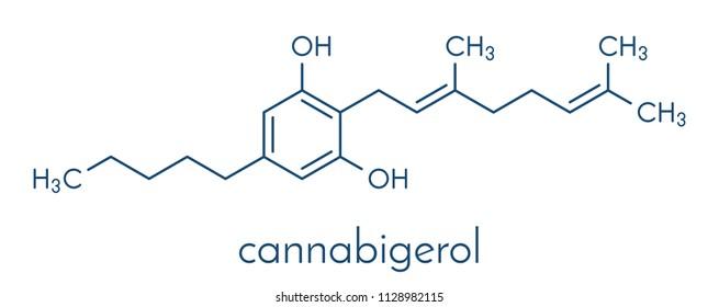 Cannabigerol cannabinoid molecule. Skeletal formula.