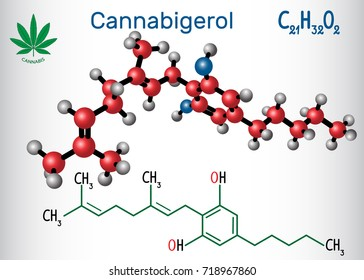 Cannabigerol (CBG) - structural chemical formula and molecule model. Non-intoxicating cannabinoid in plants of the genus cannabis. Vector illustration
