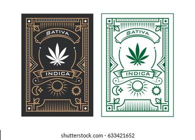 Cannabis badge design element