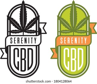 Cannabis CBD vector logo or badge. Cannabis leaf design with CBD and serenity banner. Includes color and black and white versions.
