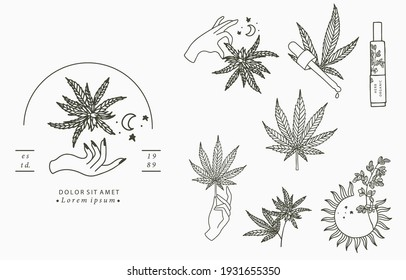 cannabis collection with bottle, sun, hand. Vector illustration for icon, sticker, printable