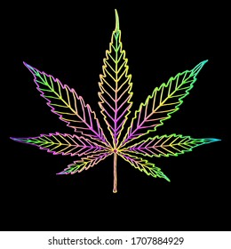 Cannabis colorful leaf isolated on black. Shape or silhouette herbal nature symbol. Vector doodle cartoon hand drawing bright rainbow multicolor logo marijuana or ganja plant. Line art.