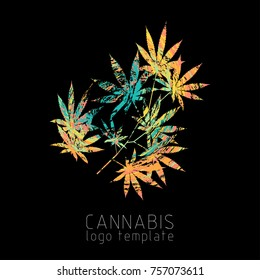 Cannabis creative logo. Marijuana colorful symbol