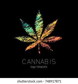 Cannabis creative logo. Marijuana colourful symbol