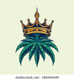 Cannabis Crown Logo Illustrations for for your work merchandise clothing line, stickers and poster, greeting advertising business company or brands