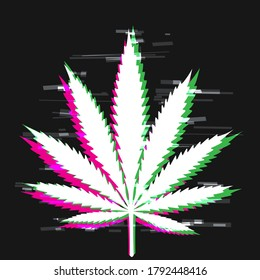 Cannabis drug glitch effect sign in dark. White hemp shape on black background. Marijuana symbol template. Weed plant leaf silhouette with green and pink shadow colors