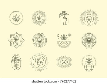 Cannabis emblem set on beige background