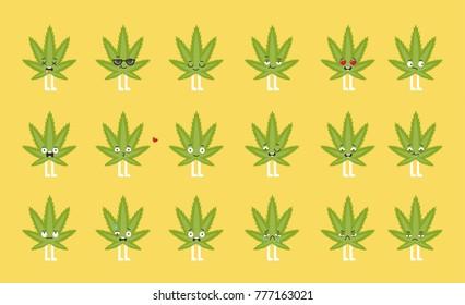 Cannabis emoji set. Funny cartoon character with emotions.