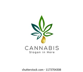 Cannabis essence oil drop logo design