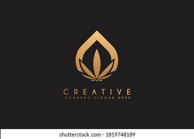 Cannabis essence oil drop logo design