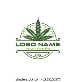 Cannabis Essence Oil Drop Medical Cannabis Marijuana Leaf Geometric Logo