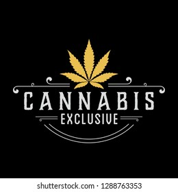 Cannabis Exclusive Gold Logo Design