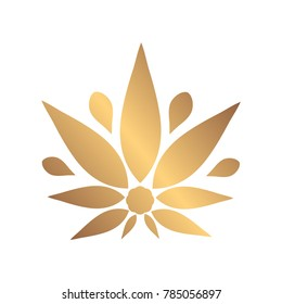 Cannabis gold silhouette logo. Hemp icons. Sign T-shirts for design, creating corporate identity and promotional products.