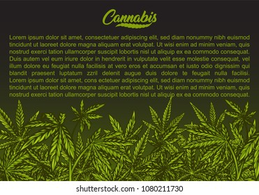 Cannabis green background with leaves. Vector abstract illustration.