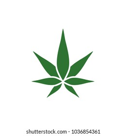 Cannabis green silhouette logo. Hemp of emblem for the design of the packaging of goods, food, for the creation of printed products.