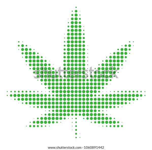 Cannabis halftone vector pictogram. Illustration style is dotted iconic Cannabis icon symbol on a white background. Halftone pattern is circle spots.