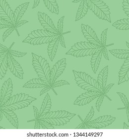 Cannabis or Hemp Leaf Seamless pattern with Green Color, Great for backgrounds, fabrics, wrapping paper, etc.