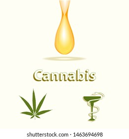 Cannabis hemp oil dripping, Hemp leaf, bowl with Snake - isolated on light background - vector. Health concept. Medical cannabis concept Medicinal plants