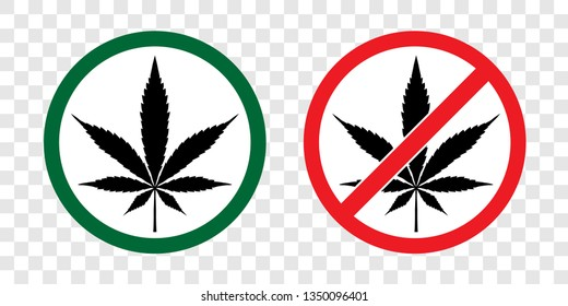 Cannabis, Hemp, Weed, Marihuana or Marijuana leaf with forbidden, prohibition,no drugs red circle sign vector icon. No marijuana sign and allow marijuana sign isolated on transparency background.