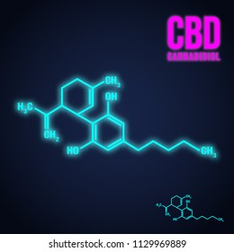 Cannabis icon. Cannabidiol formula neon light design. Vector illustration.