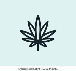Cannabis icon line isolated on clean background. Marijuana concept drawing icon line in modern style. Vector illustration for your web site mobile logo app UI design.