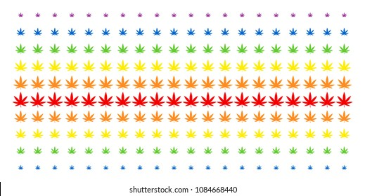 Cannabis icon rainbow colored halftone pattern. Vector shapes organized into halftone grid with vertical spectrum gradient. Designed for backgrounds, covers, templates and abstraction effects.