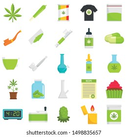 Cannabis icon set. Flat set of cannabis vector icons for web design