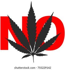 Cannabis leaf black on white background NO vector illustration