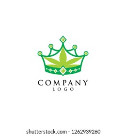 cannabis leaf with crown logo vector