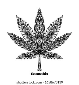 Cannabis leaf decorated with original modern pattern. Element for design. Vector illustration In decorative style. Ethnic patterned ornate hand drawn..
