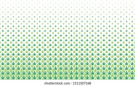Cannabis leaf green halftone pattern. Repeating cannabis leaf for textile printing isolated on white background.