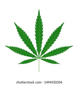 Cannabis leaf icon. Green silhouette indica sativa isolated white background. Herbal medicine herb plant. Natural weed hemp. Addiction smoke drug Illegal narcotic marijuana design Vector illustration