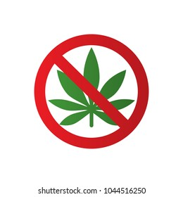 Cannabis leaf icon in prohibition red circle. No Marijuana, no drugs. Forbidden sign isolated on white background. Vector.