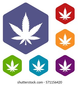 Cannabis leaf icons set rhombus in different colors isolated on white background