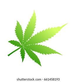 Cannabis Leaf. Indica. Cold color.