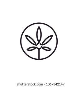 Cannabis Leaf Line Art Logo design inspiration