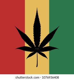 Cannabis leaf. Marijuana. Bob Marley flag. Medical cannabis logo. Legalize symbol. Vector graphics to design.