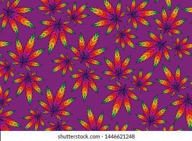 Cannabis leaf marijuana vector colorful illustration ganja pattern background