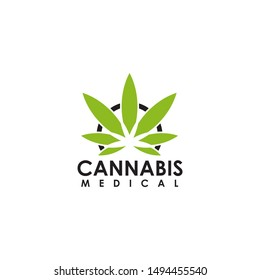 Cannabis leaf medical logo design vector template