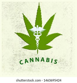 Cannabis leaf with medical symbol Caduceus - abstract retro dirty stained light background - illustration, vector. Health concept. Medical cannabis concept.
