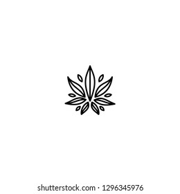 Cannabis Leaf Modern Line Art Logo design inspiration - Vector