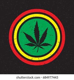 Cannabis leaf on grunge rastafarian background circle. Vector illustration
