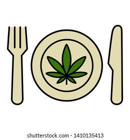 Cannabis leaf on the plate with knife and fork. Marijuana food. Isolated vector illustration on white background.