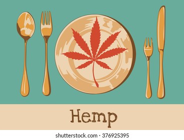 Cannabis leaf on the plate with spoon knife and forks